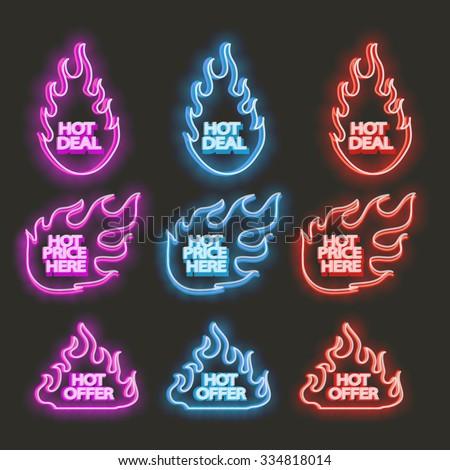 Neon flames set - stock vector