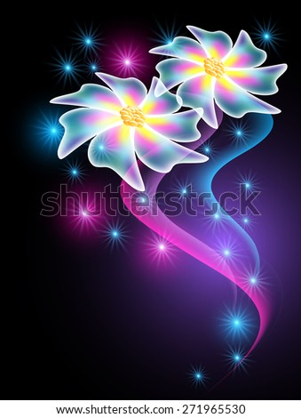 Neon flowers with glowing smoke and sparkle stars - stock vector