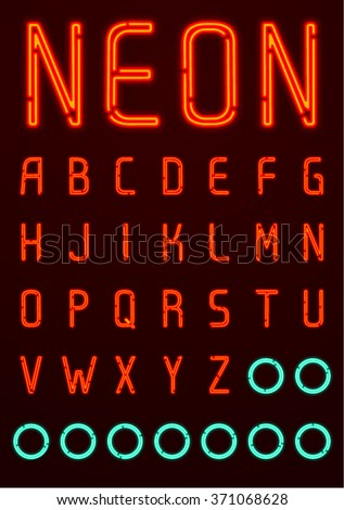 Neon Font, English Alphabet 1/4 - stock vector