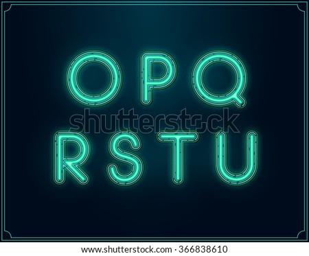Neon Font Type Alphabet. Glowing in Vector. - stock vector
