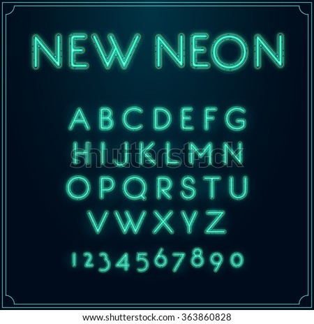Neon Font Type Alphabet. Glowing in Vector. With Numbers. - stock vector