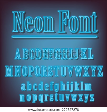 Neon font.Vector alphabet with neon letters. - stock vector