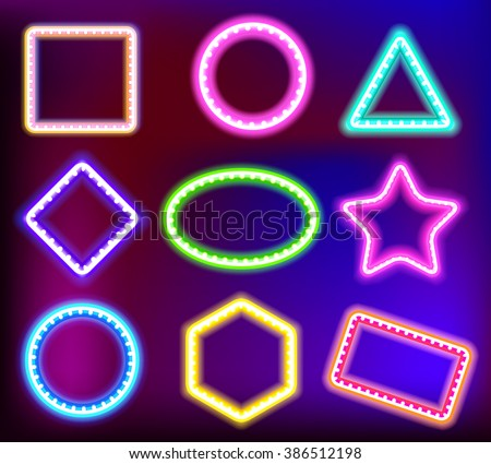Neon framework for text. Neon light in the form of star,circle,square and other forms.Vector illustration of neon sign for a casino.Shining neon framework pink, blue,violet, green and yellow color - stock vector
