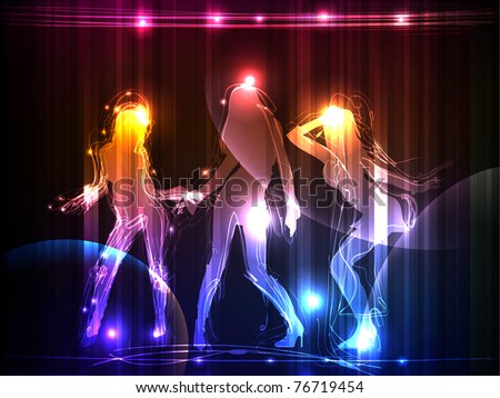 neon girls - stock vector