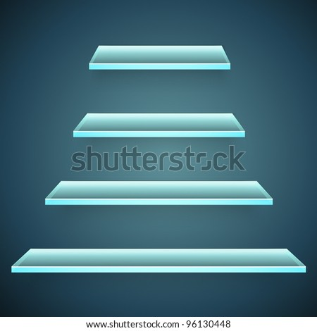 neon glass shelves - stock vector