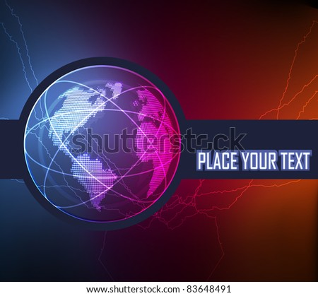 Neon globe vector background - stock vector