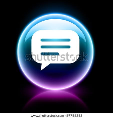 neon glossy web icon - chat - stock vector