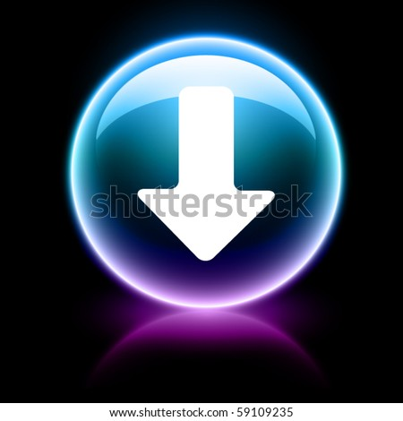 neon glossy web icon - download - stock vector