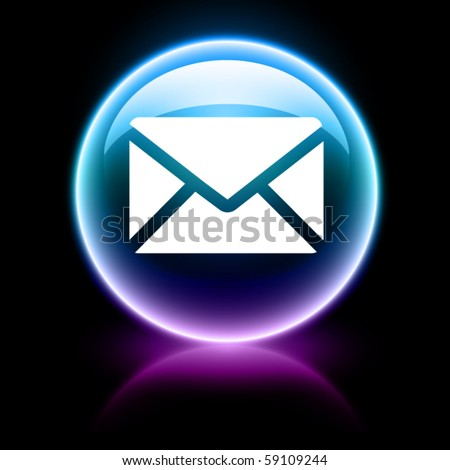 neon glossy web icon - email - stock vector