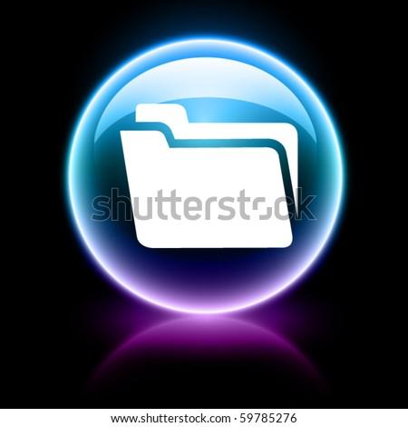 neon glossy web icon - folder - stock vector