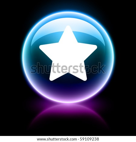 neon glossy web icon - star - stock vector