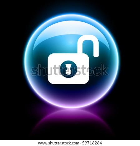 neon glossy web icon - unlock - stock vector