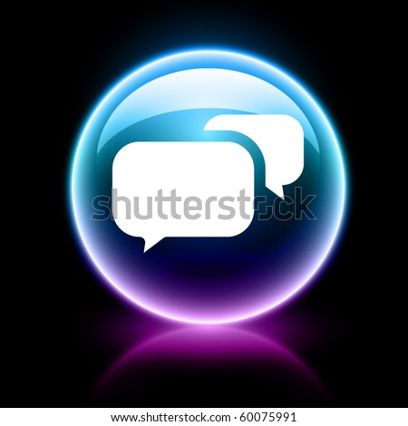 neon glossy web icons - chat - stock vector