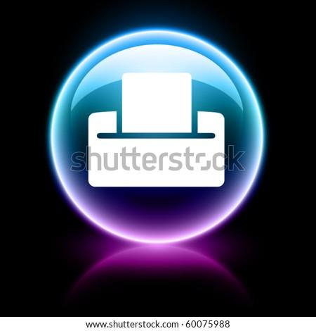 neon glossy web icons - print - stock vector