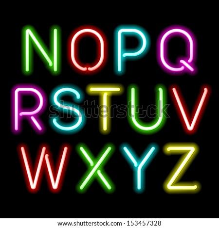 Neon glow alphabet. Vector. - stock vector