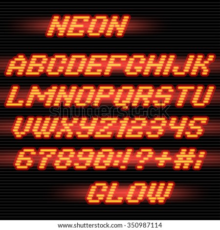 Neon glowing Alphabet font and numbers on stripe background - stock vector