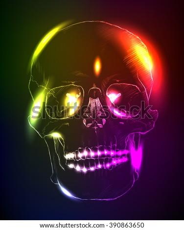 Neon glowing skull on a dark background. - stock vector