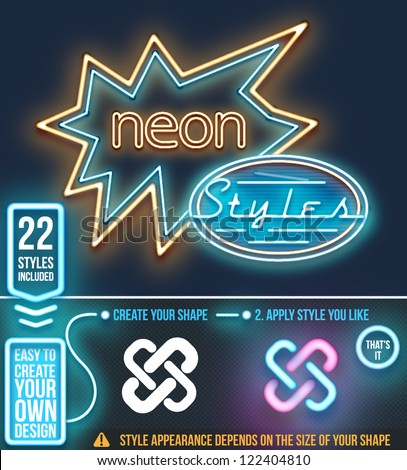 Neon graphic styles. Vector - stock vector