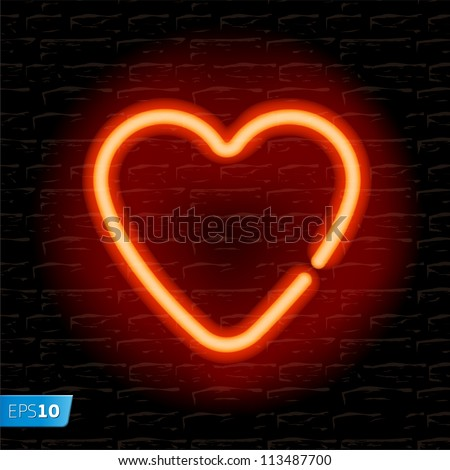 Neon heart on the brick wall, vector Eps 10 illustration.