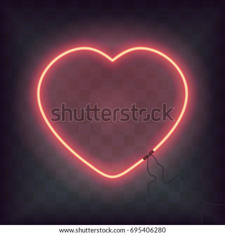 Neon Heart Sign On Transparent Background Stock-Vektorgrafik ...