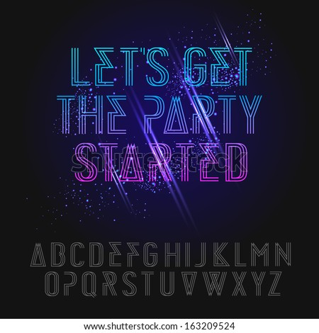 Neon holidays party alphabet, vector illustration.  - stock vector