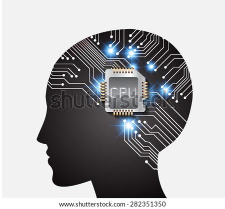 Neon human head. CPU. black Circuit board. Vector illustration. Abstract Technology background for computer graphic website internet and business. info graphics. - stock vector