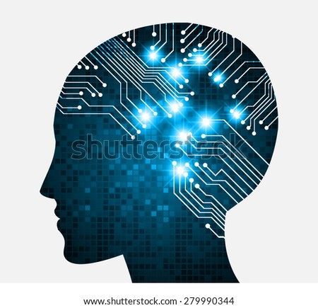 Neon human head. Cpu. blue Circuit board. Vector illustration. pixel. Abstract Technology background for computer graphic website internet and business. infographics. - stock vector