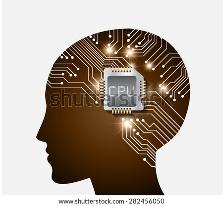 Neon human head. Cpu. brown Circuit board. Vector illustration. Abstract Technology background for computer graphic website internet and business. infographics. - stock vector