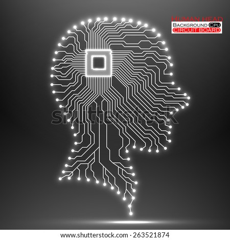 Neon human head. Cpu. Circuit board. Vector illustration. Eps 10