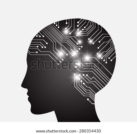 Neon human head. Cpu. dark black Circuit board. Vector illustration. Abstract Technology background for computer graphic website internet and business. infographics. - stock vector