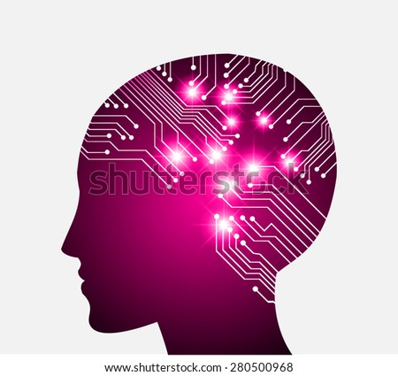 Neon human head. Cpu. dark pink Circuit board. Vector illustration. Abstract Technology background for computer graphic website internet and business. infographics. - stock vector