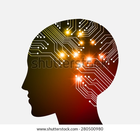 Neon human head. Cpu. dark yellow red Circuit board. Vector illustration. Abstract Technology background for computer graphic website internet and business. infographics. - stock vector