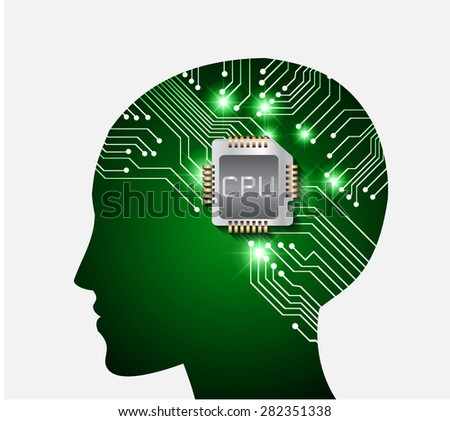 Neon human head. Cpu. green Circuit board. Vector illustration. Abstract Technology background for computer graphic website internet and business. infographics. - stock vector