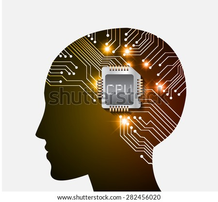 Neon human head. Cpu. orange Circuit board. Vector illustration. Abstract Technology background for computer graphic website internet and business. infographics. - stock vector