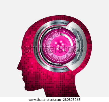 Neon human head. Cpu. pink Circuit board. Vector illustration. Abstract Technology background for computer graphic website internet and business. infographics. pixel. digital logo. - stock vector