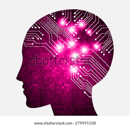 Neon human head. Cpu. pink Circuit board. Vector illustration. pixel. Abstract Technology background for computer graphic website internet and business. infographics. - stock vector