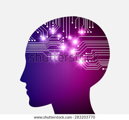 Neon human head. Cpu. purple blue Circuit board. Vector illustration. Abstract Technology background for computer graphic website internet and business. infographics. - stock vector