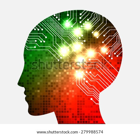 Neon human head. Cpu. red green Circuit board. Vector illustration. pixel. Abstract Technology background for computer graphic website internet and business. infographics. - stock vector