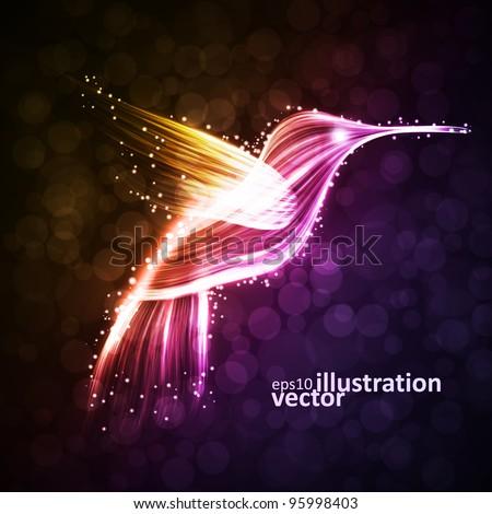 Neon hummingbird, abstract lights vector backgrounds eps10 - stock vector