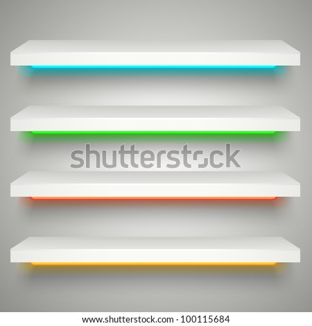 neon illumination shelves - stock vector
