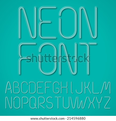 Neon Letters, Alphabet On A Blue Background - stock vector