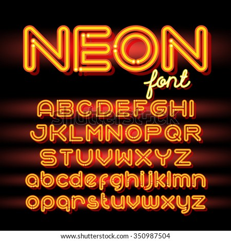 Neon Light Alphabet Vector Font. Neon tube letters on dark background. Uppercase and small case set - stock vector