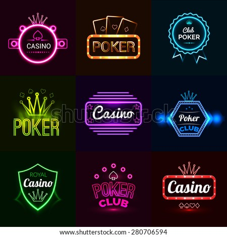 Neon light poker club and casino emblems set isolated vector illustration - stock vector