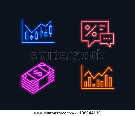 Neon Lights Set Financial Diagram Usd Stock Vector Royalty Free