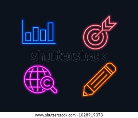 Neon Lights Set Target Report Diagram Stock Vector 2018 1028919373