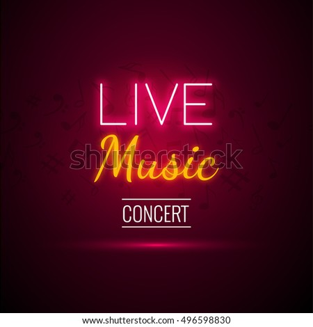 Neon Live Music Concert Acoustic Party Poster Background Template With Text Sign Spotlight And Stage