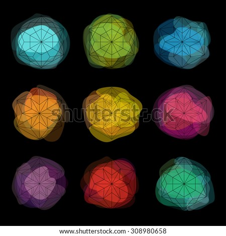 Neon paint spots. Abstract transparent vector spots. Snowflakes set. Winter abstract design elements. Graphic hexagonal shapes. - stock vector