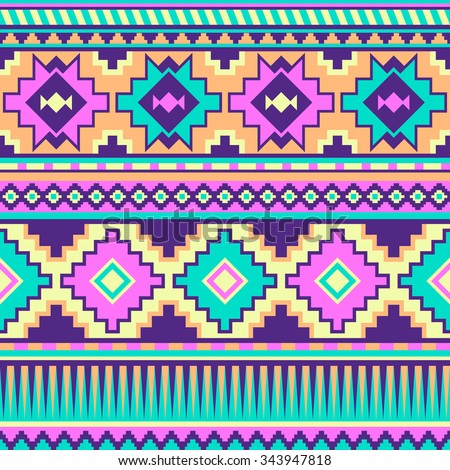 neon pastel multicolor tribal seamless pattern. aztec fancy abstract geometric art print. ethnic hipster backdrop. Wallpaper, cloth design, fabric, paper, wrapping, textile design template. - stock vector