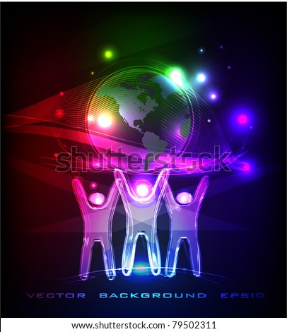 neon people holding globe - stock vector