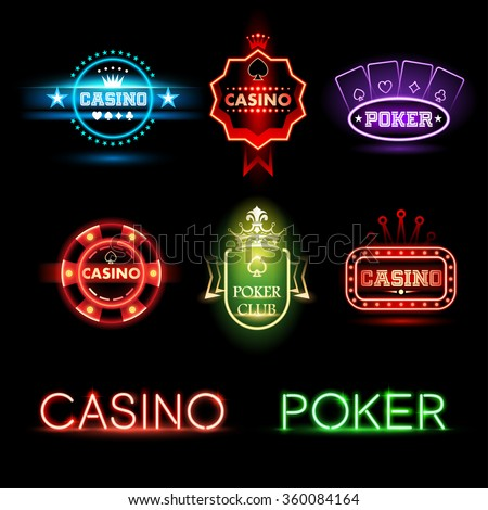 Neon poker and casino emblems - stock vector